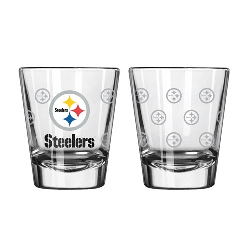 Pittsburgh Steelers Shot Glass - 2 Pack Satin Etch - New UPC