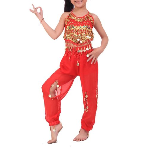[BellyLady Kid's Belly Dance Halter Top & Harem Pants, Christmas Gift Idea] (Ideas For Halloween Costumes For Teenage Girl)