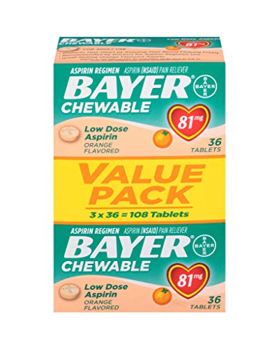 Aspirin Regimen Bayer 81mg Chewable Tablets | #1 Doctor Recommended Aspirin Brand | Pain Reliever | Orange Flavor |  108 Count (High Blood Pressure And Heart Attack Symptoms)