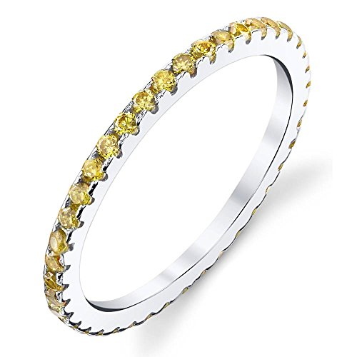 Solid 925 Sterling Silver Stackable 0.50 Carat TW Ring Micro Pave Wedding Band Eternity Cubic Zirconia Canary Yellow Diamond