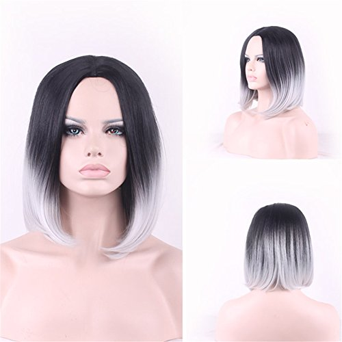 Miss Kiss Ombre Bob Wigs for Women No Lace Short Fashion Synthetic Wigs with Cap Heat Resistant Material 1B Grey Color with Elastic String and (Color Wig)