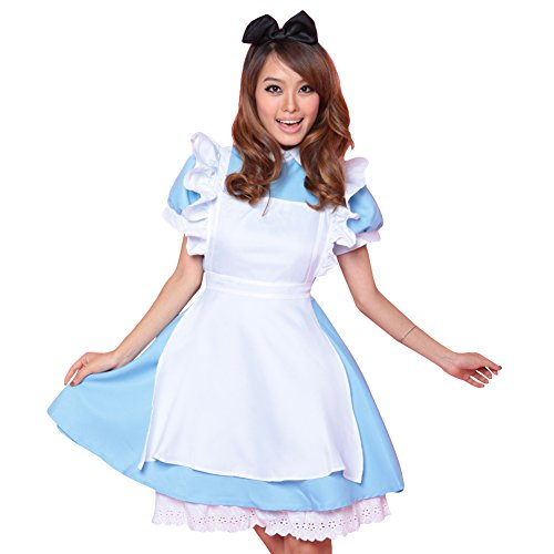 M&A Women Halloween Lolita Maid Costume Cosplay Outfit Alice's Adventures in -