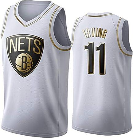WSUN Ropa De Baloncesto para Hombres NBA Brooklyn Nets # 11 Kyrie Irving Baloncesto Jersey Vintage Cool Tejido Transpirable All-Star Unisex Fan Uniform,B,L(175~180CM/75~85KG)
