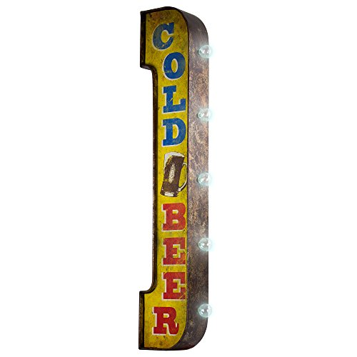 ''COLD BEER'' Double Sided Antiqued Distressed Metal Bar Marquee Display Vintage Signs Illuminated By Battery Powered Large LED Lights by Millenium Art
