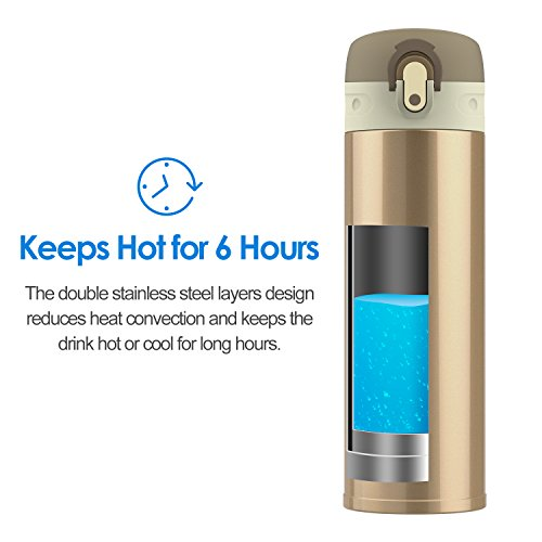 JEFlex 14 Ounce Stainless steel Commuter sprayer upright vacuum cleaner Insulated Leakproof take a trip Mug Champaign Thermoses