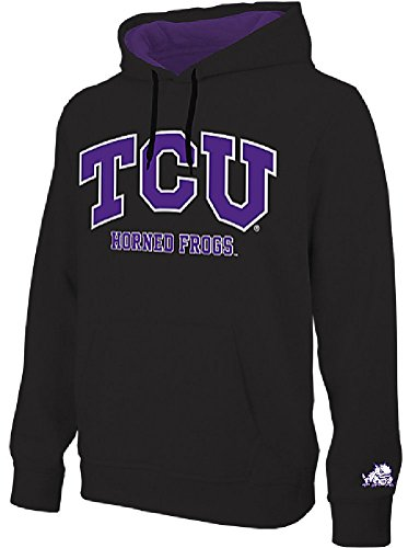 NCAA TCU Horned Frogs Black Embroidered College Classic Hoodie Sweatshirt ()
