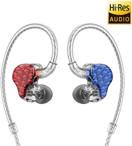 FiiO FA7 Best Over The Ear Headphones Earphones Detachable Cable Design HiFi Quad Balanced Armature Driver in-Ear Monitors for iOS and Android Computer PC Tablet Blue L and Red R -Clear Abstract