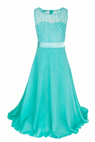 iEFiEL Big Girls Lace Chiffon Bridesmaid Dress Dance Ball Party Maxi Gown Turquoise 8 -