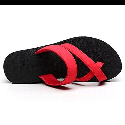 taille plat Couleur Rose PU pantoufles UK6 Chaussures bout rose talon bleu EU39 pour ZHANGRONG noir Noir confort Femmes rond d'été CN39 Casual 0TnqZ