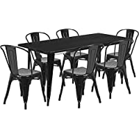 31.5x63Rectangular Black Metal Indoor-Outdoor Restaurant Table Set w/6 Chair