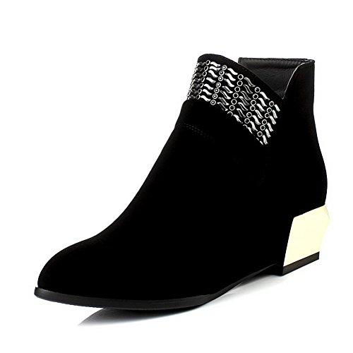 AllhqFashion Damen Mattglasbirne Ziehen auf Niedriger Absatz Niedrig-Spitze Stiefel, Weinrot, 34