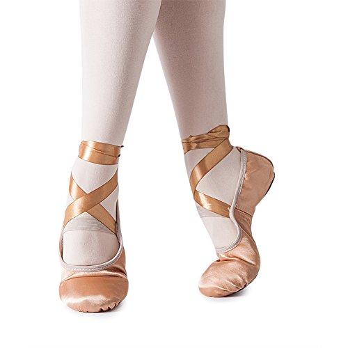 MSMAX Girl's Silk Dance Shoe Ballet Slipper,Dark Pink,Little Kid,1M (White Gold Ballet Slippers)