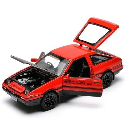 KMT 1:28 INITIAL D Toyota AE86 Alloy Diecast Car Model (Red) (Touring Caravan)