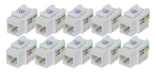 iMBAPrice (Pack of 10) Keystone Punch Down Jack Cat-5e RJ-45 - White