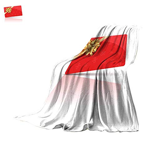 Coverlet Digital Printing WarmRed Gift Card with Gold Bow and Ribbon Coupon Gift Card Celebration Design Holiday Vector Card Throw Blanket 70