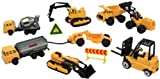 Image: WowToyz Construction Vehicles Backpack Playset - comes with 10 high quality die-cast metal construction vehicles and various plastic accessories