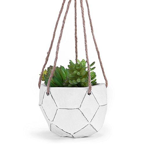 Ceramic White Unglazed (MyGift Geometric Design Hand-Painted Clay Hanging Succulent Planter Pot)