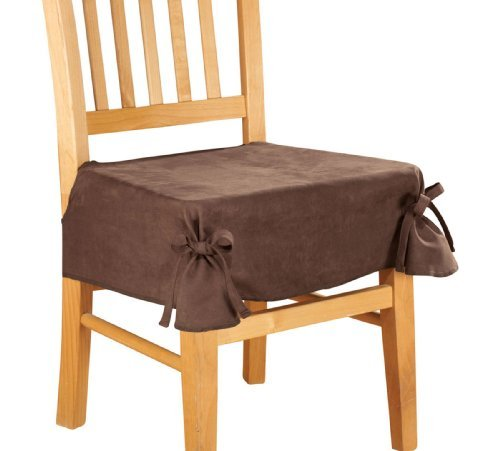 Microsuede Chair Seat Cover with Ties by WalterDrake (Ties Cover Chair)