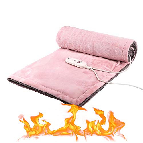 (ACLBB Electric Blanket Mat, Portable Heating Pad Preheating, Double-Sided 3-Speed Adjustable Super Soft Comfort Mat, Machine Washable (105 85Cm),Pink )