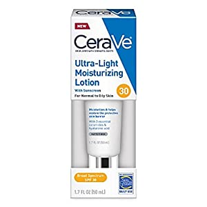 CERAVE Ulta-Light Moisturizing Face Lotion with Sunscreen SPF 30 1.7oz, pack of 1