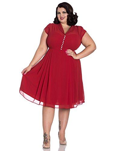 tè Hell Rosso Paige Bunny Vestito Chiffon '40 Anni Vintage rYzSwrq