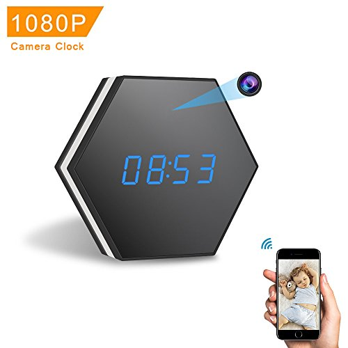 Spy Hidden Camera Clock-ENKLOV HD 1080P WiFi Smart Mirror Clock with Night Vision Two-Way Audio Motion Detection Colorful LED light,for Wall and Desk,Perfect Gift