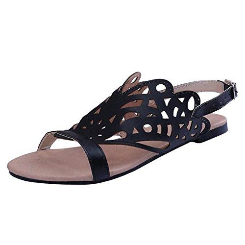 TAOFFEN Women Fashion Flat Sandals Shoes Slingback Black
