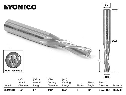Yonico 36314-SC 1//4-Inch Dia 3 Flute Low Helix Downcut Spiral End Mill CNC Router Bit 1//4-Inch Shank