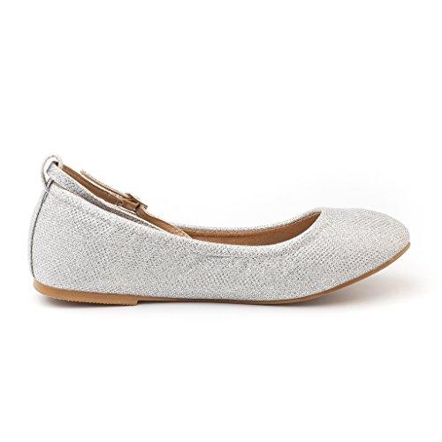 online store b0af9 b3eef Paire De Rêve Femmes-fina-sangles Cheville Bretelles Ballerines Chaussures  Argent Paillettes ...