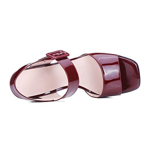 Enmayer Kvinna Patent Läderklänningen Höga Klackar Sandaler Rödvin