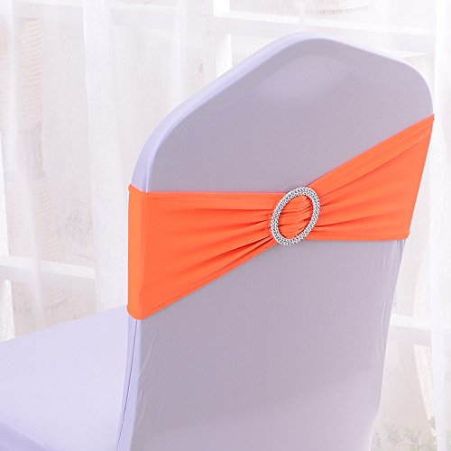 50PCS Spandex Chair Sashes Bows Elastic Chair Bands With Buckle Slider Sashes Bows For Wedding Decorations (Orange)