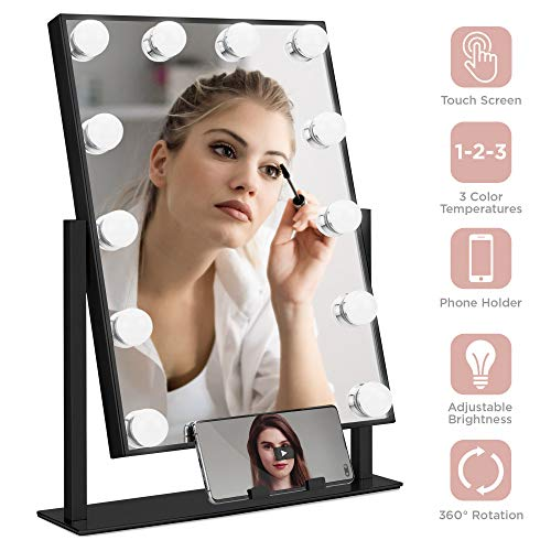 Best Choice Products Hollywood Makeup Vanity Mirror w Smart Touch, Phone Holder, 12 LED, Adjustable Color Temp – Black