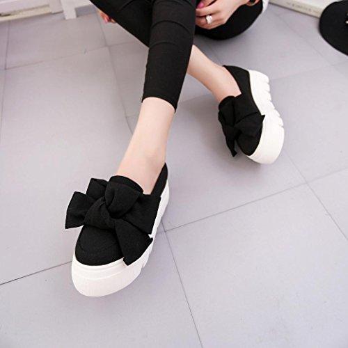 FEITONG Pisos para mujer Moda Arco dama Pisos Mocasines Señoras Slip On Platform Zapatos Negro