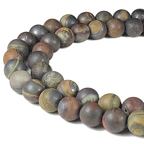 [ABCgems] Matte Australian Sunset Tiger Iron (Combination of Black Hematite, Blue Tiger's Eye & Red Jasper) 8mm Smooth Round Beads for Beading & Jewelry ()