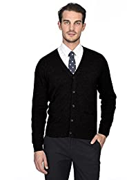 State Cashmere Men's 100% Pure Cashmere Button Front Long Sleeve Cardigan Sweater