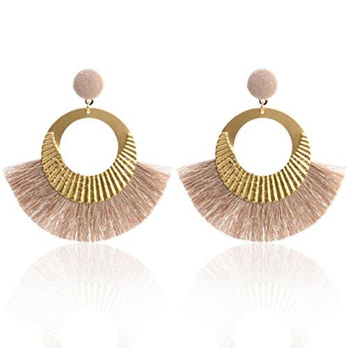 Celendi_Jewelry Fashion Stud Earrings Openwork Style Big Circle Crystal Tassel Dangle Earrings - Openwork Pendant Circle