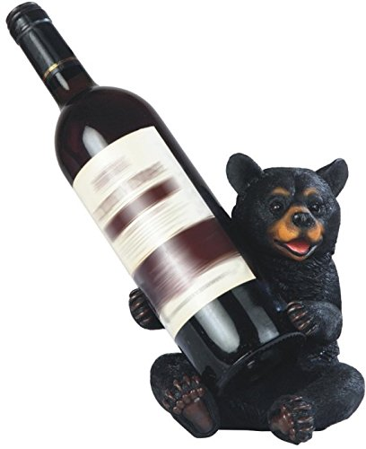 StealStreet SS-G-54354 Happy Black Bear Sitting Wine Holder, 7.25