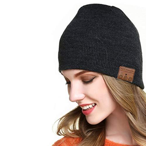 Baulody HD Stereo Bluetooth 4.2 USB Wireless Smart Beanie Headset Musical Knit Headphone Speaker Hat Speakerphone Cap, Built-in Mic (Black)