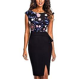HOMEYEE Women's Elegant Crew Neck Sleeveless Floral Embroidered Split Bodycon Business Dress B429