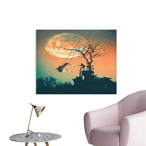 (Fantasy World Wall Decor Spooky Night Zombie Bride and Groom Lady on Swing Under Starry Sky Full Moon Wall Decals for Bedroom W24 xL20)
