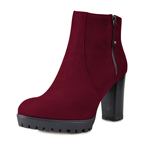 FSJ Women Stacked Chunky Heel Ankle Boots With Platform Round Toe Comfortable Winter Shoes Wine