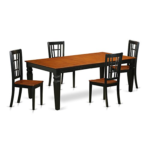 East West Furniture LGNI5-BCH-W 5 PC Kitchen Table Set with One Logan Dining Room Table & 4 Kitchen Chairs in black & Cherry Finish