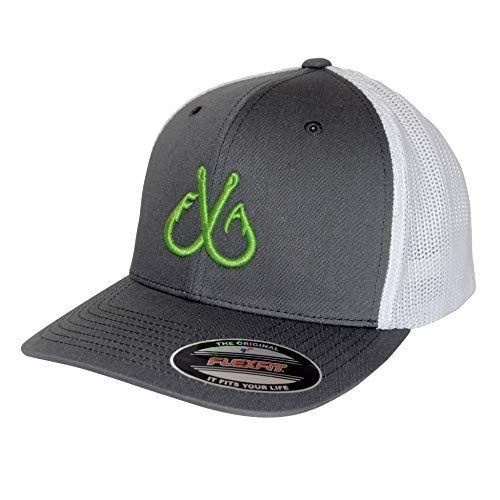 Filthy Anglers Flexfit Fishing Trucker Hat Charcoal & White with Double Hooks