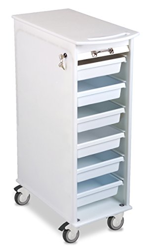 "TrippNT 50100 White Polyethylene Lockable Narrow Lab Cart with Casters, 12"" Width x 35"" Height x 16.5"" Depth, 6 Drawers"