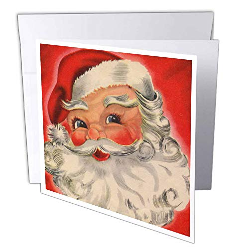 (3dRose Jolly Santa Claus - Greeting Cards, 6 x 6 inches, set of 6 (gc_35942_1))