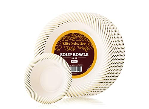 Plastic Soup Bowls Pack Of (25) Dinner Disposable Party Bowls - Hard Gold Plastic Bowls - Wedding Plates - Fancy Party Goods - Cream Ivory Color With Gold Swirl 12 oz by ELITE SELECTION