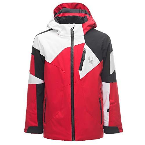 Spyder Leader Boys Ski Jacket - 14/Red-Black-White (Spyder Jacket Boys Snowboard)