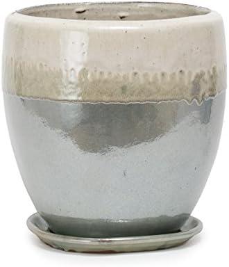 植木鉢 大型・中型 ヴィトロ ドュオ ツートーン 受け皿付き S 9号 クリーム/パール