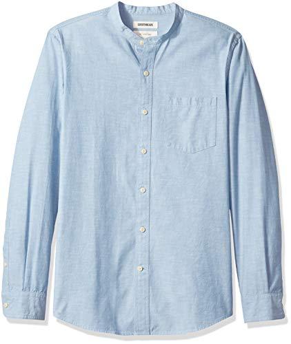 Goodthreads Men's Slim-Fit Long-Sleeve Band-Collar Chambray Shirt, -blue, X-Large