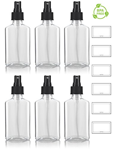 3.4 oz / 100 ml Clear PET (BPA Free) Plastic Oblong Flask Style Refillable Bottle with Black Fine Mist Sprayer (6 pack) + Labels